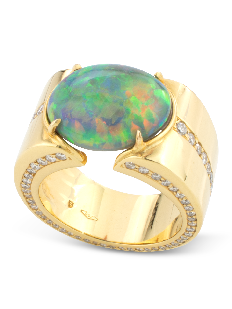 Black Opal & Diamond Cigar Band Ring-2