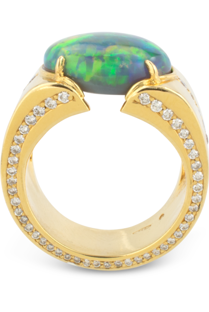 Black Opal & Diamond Cigar Band Ring