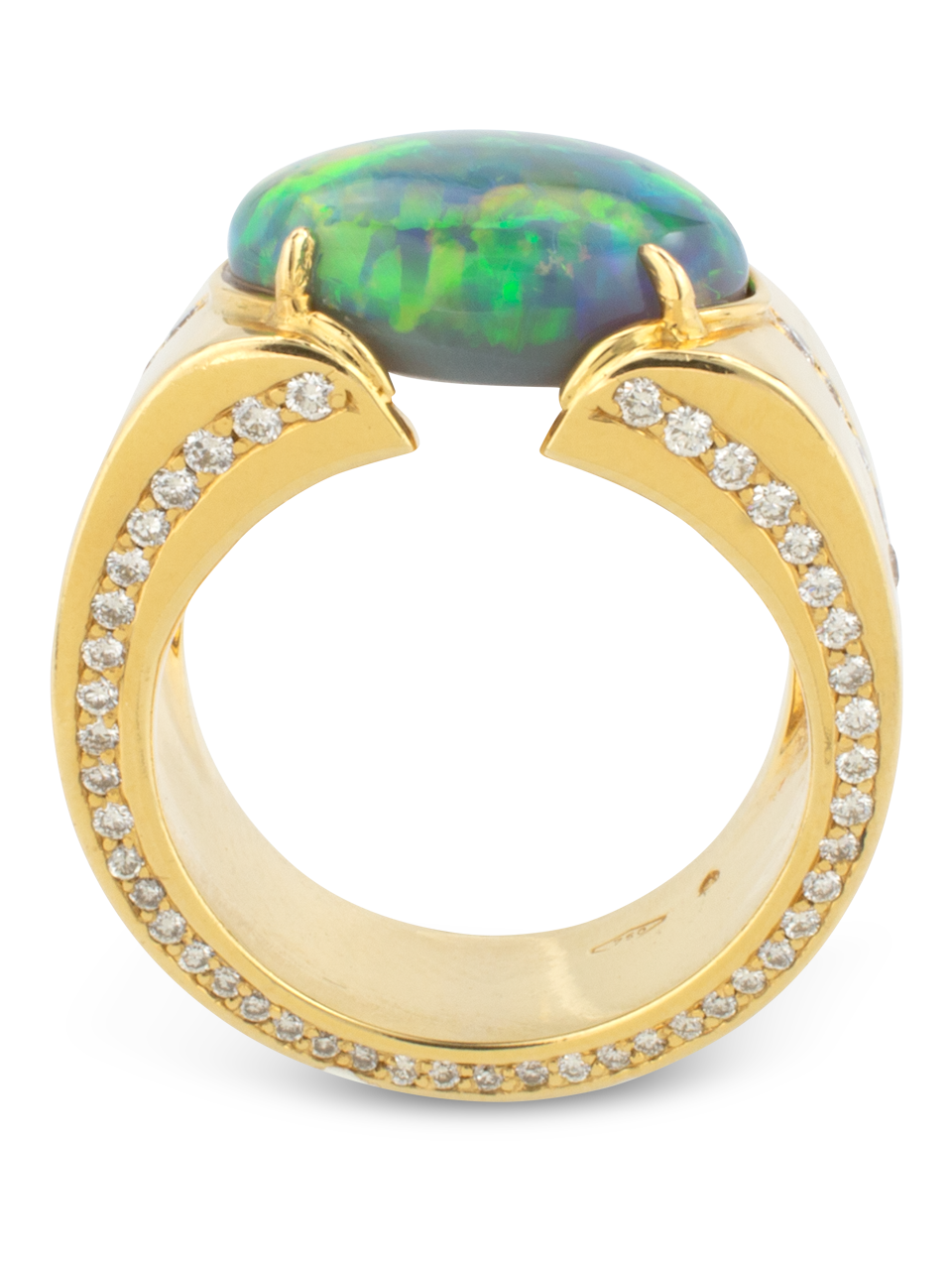 Black Opal & Diamond Cigar Band Ring-1