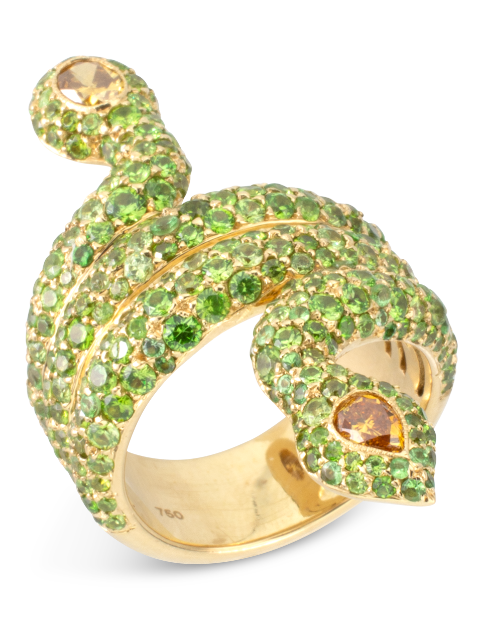 Demantoid Garnet & Yellow Diamond Snake Ring-2