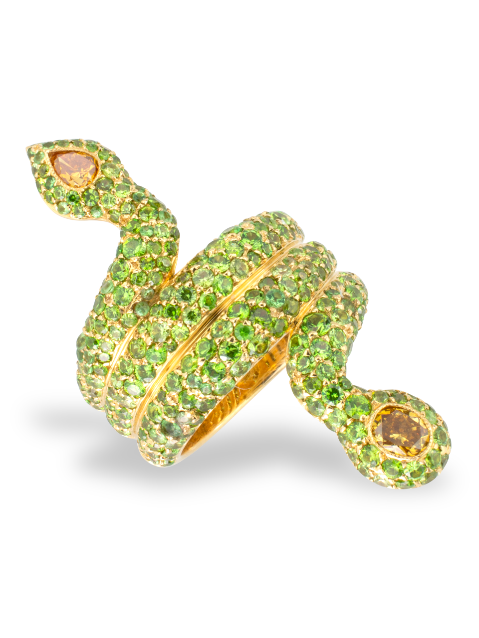 Demantoid Garnet & Yellow Diamond Snake Ring-1
