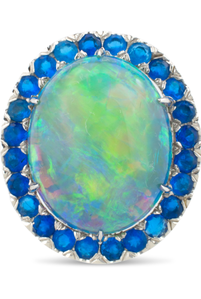 Black Opal, Hauynite & Diamond Ring