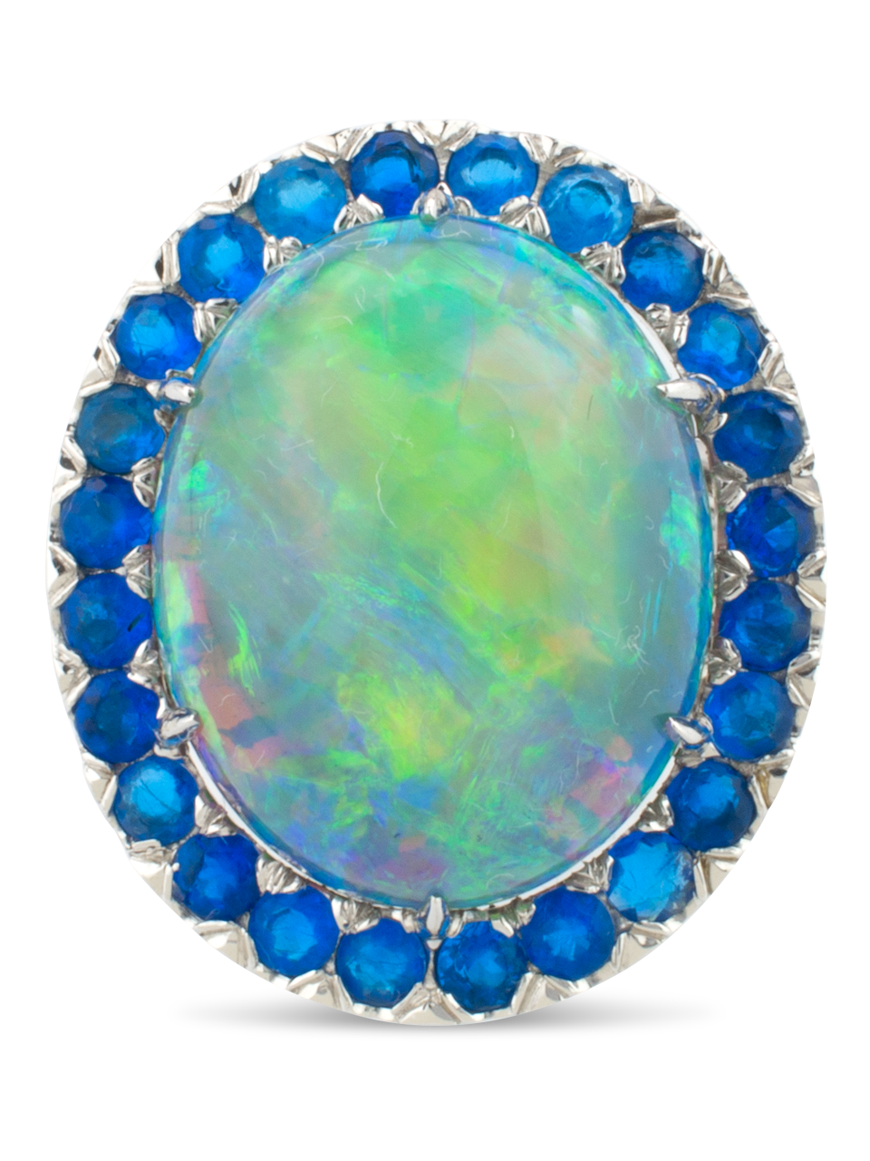 Black Opal, Hauynite & Diamond Ring-1