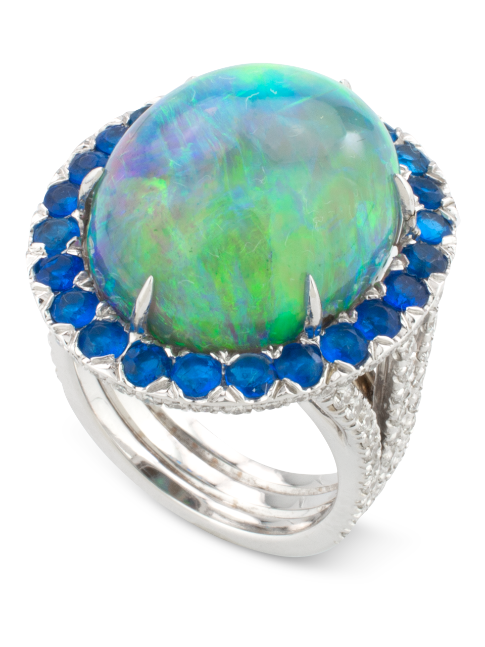 Black Opal, Hauynite & Diamond Ring-2