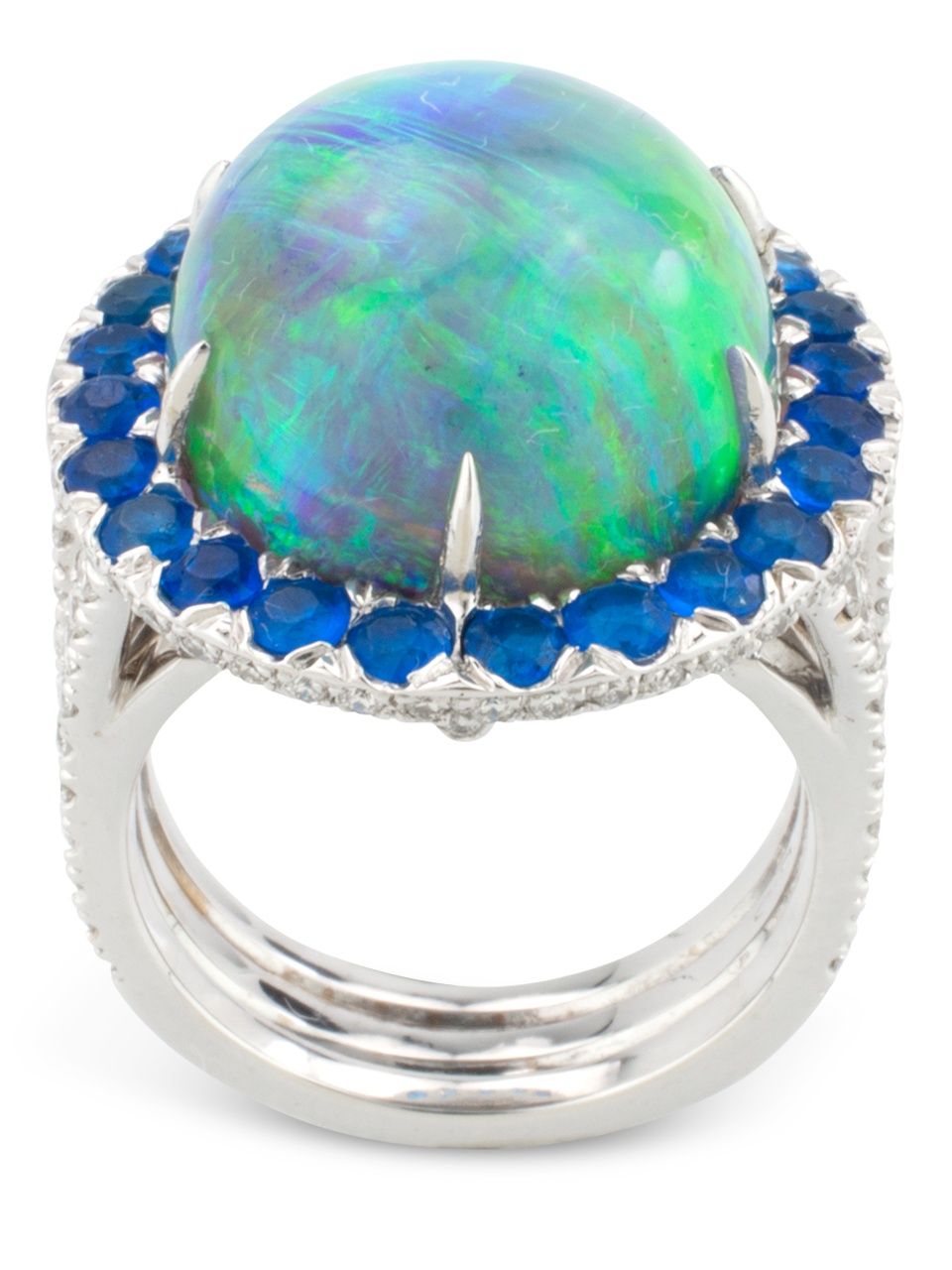 Black Opal, Hauynite & Diamond Ring-3