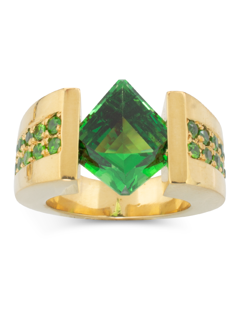 Tsavorite & Demantoid Garnet Ring-2