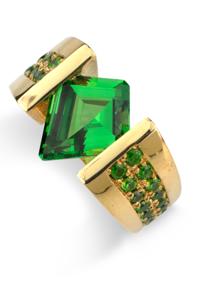 Tsavorite & Demantoid Garnet Ring