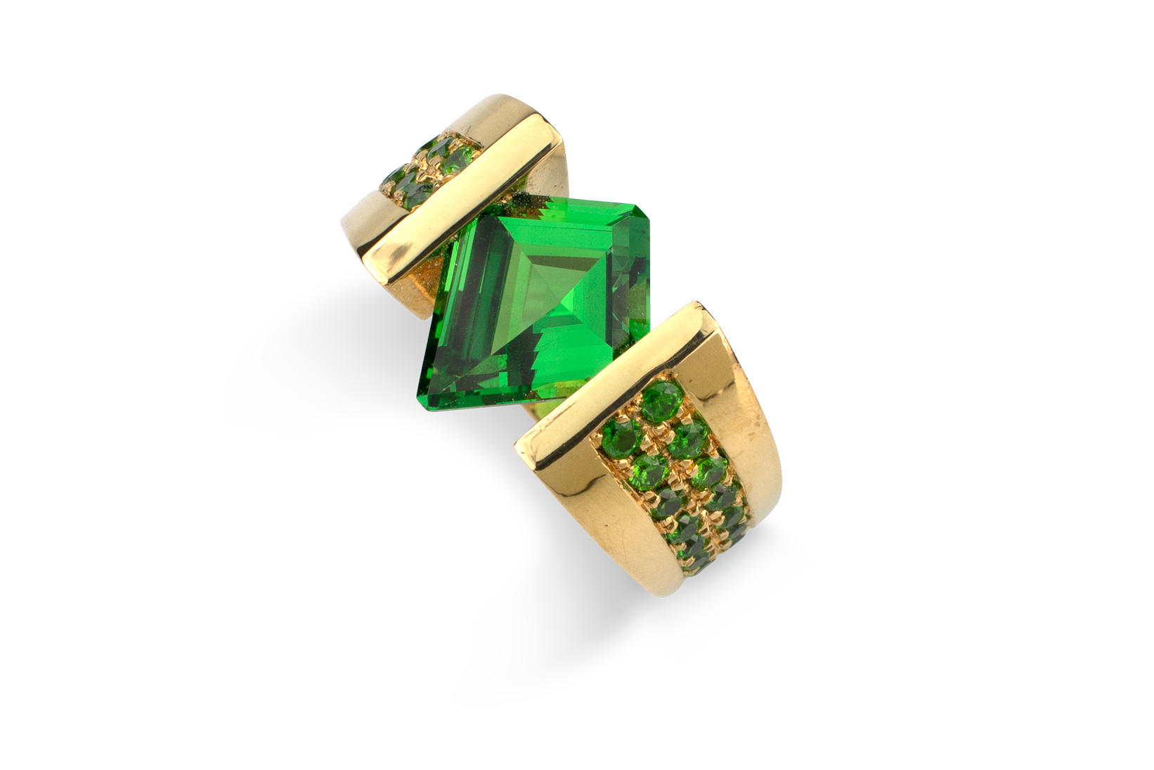 Tsavorite & Demantoid Garnet Ring-1