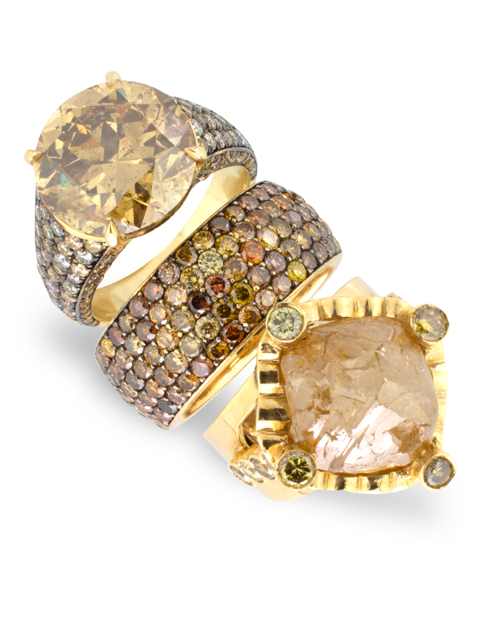 Fancy Diamond Wide Band Ring-3