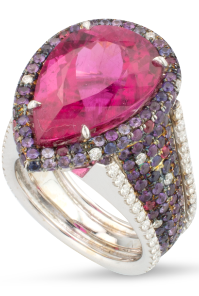 Rubellite, Spinel & Diamond Ring