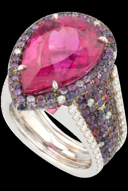 Rubellite, Spinel & Diamond Ring