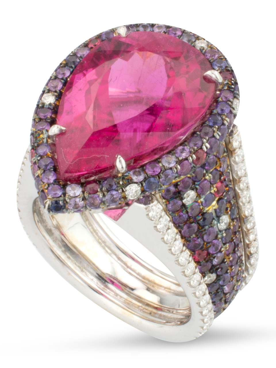 Rubellite, Spinel & Diamond Ring-1