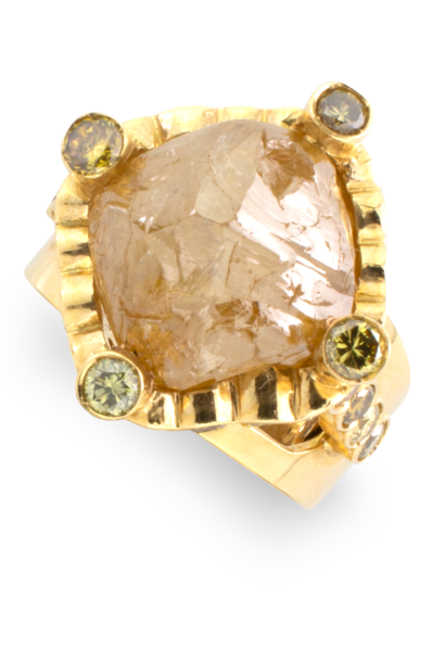 Natural Golden Diamond Nugget Ring