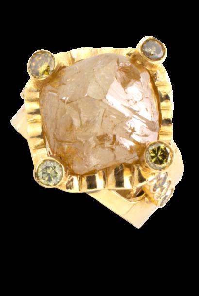 Natural Golden Diamond Nugget Ring