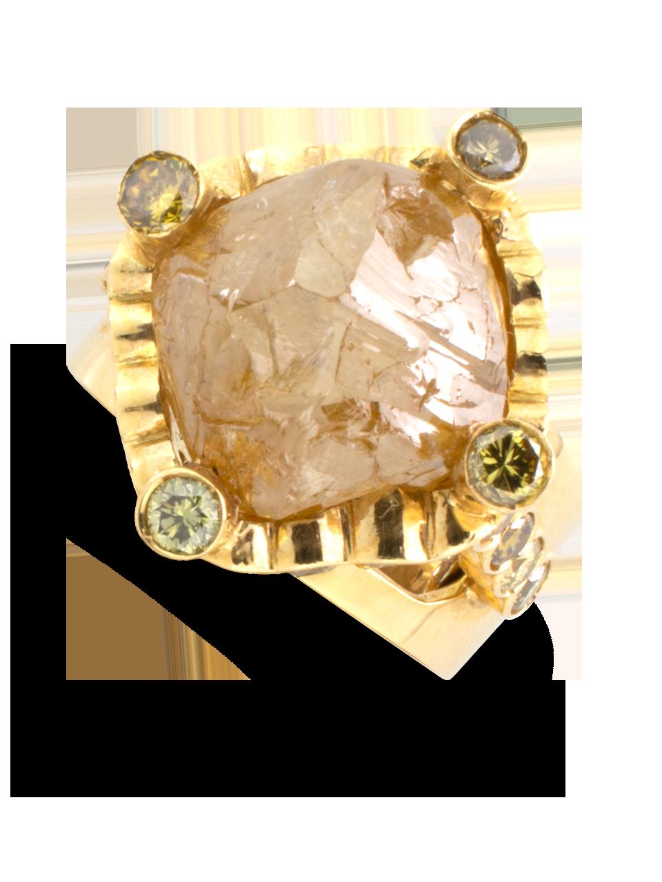 Natural Golden Diamond Nugget Ring-1