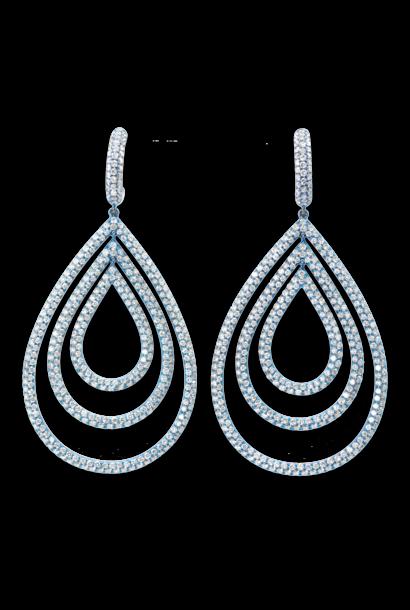 Diamond Titanium Triple Hoop Earrings