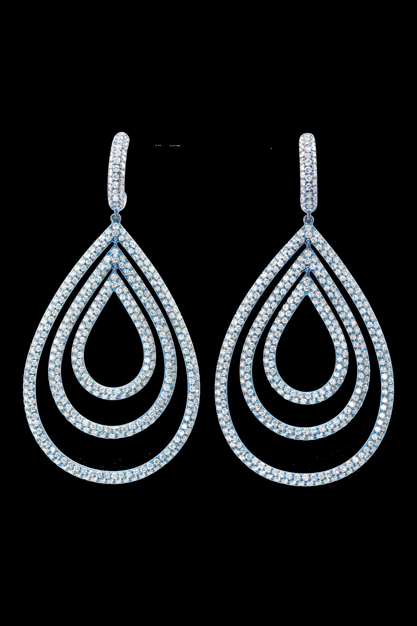 Diamond Titanium Triple Hoops-1