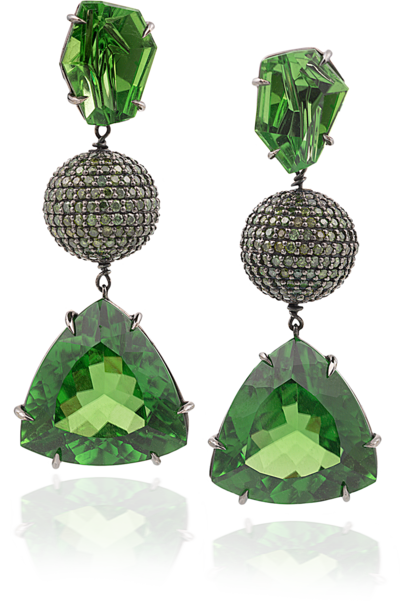 Peridot & Green Diamond Earrings