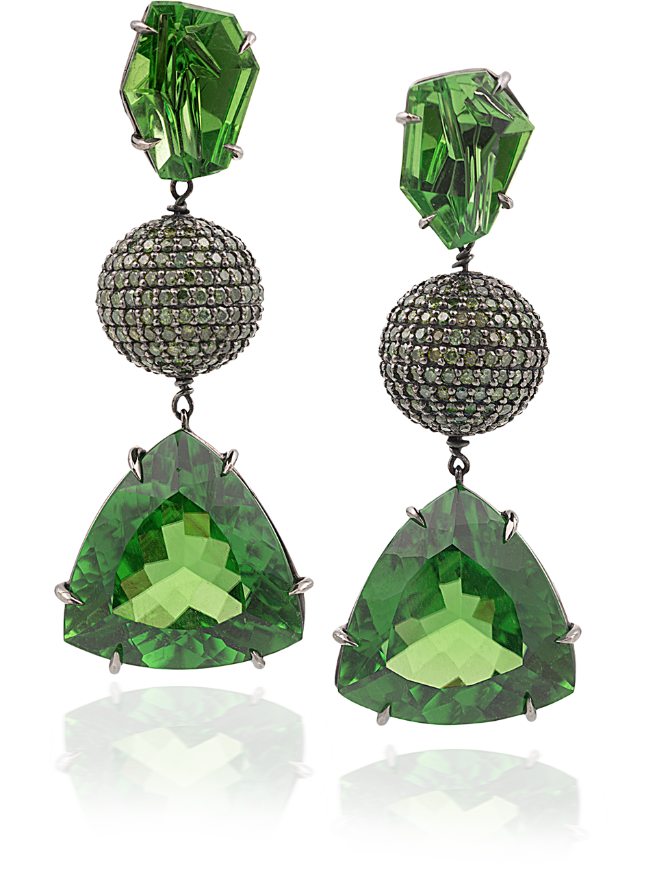 Peridot & Green Diamond Earrings-1