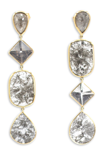 Diamond Slice & Quartz Rutile Earrings