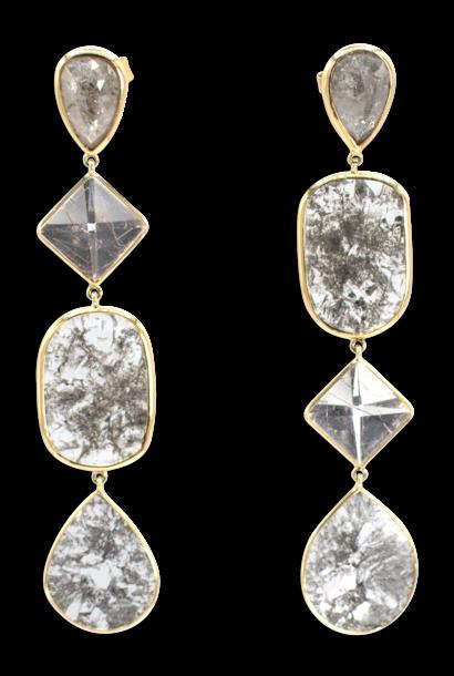 Diamond Slice & Quartz Rutile Earrings