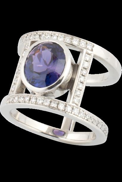 Purple Sapphire & Diamond Ring