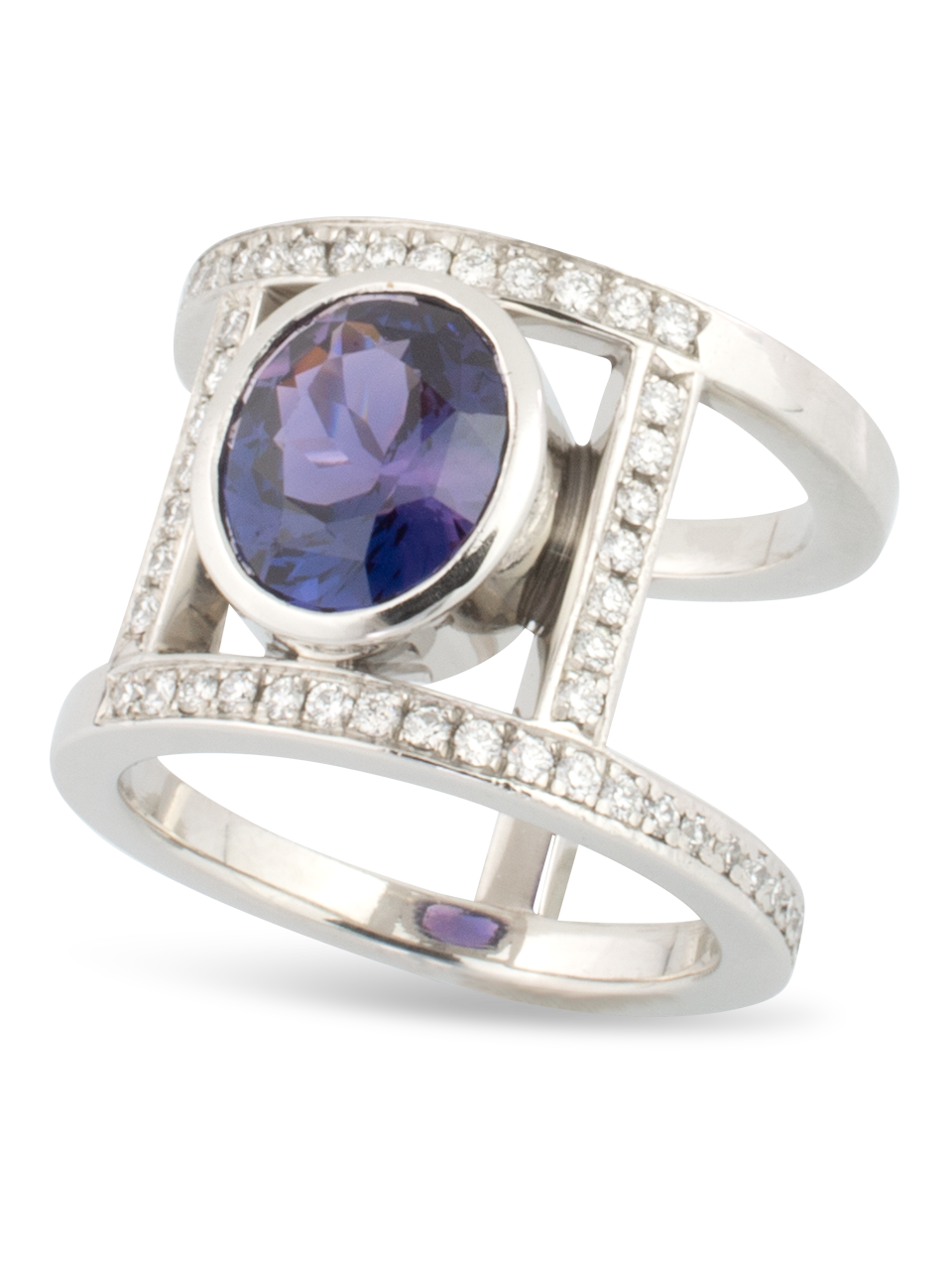 Purple Sapphire & Diamond Ring-1