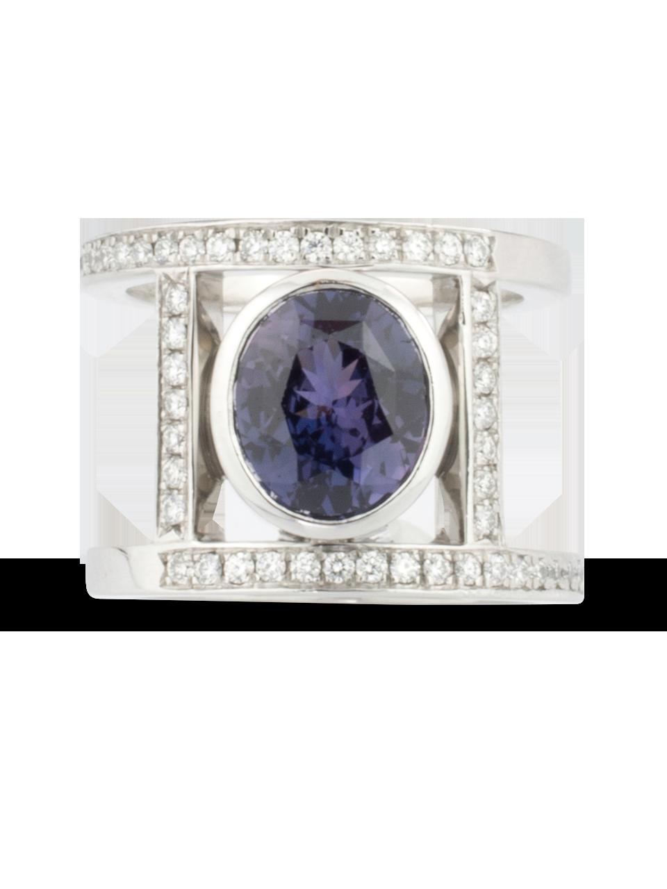 Purple Sapphire & Diamond Ring-2