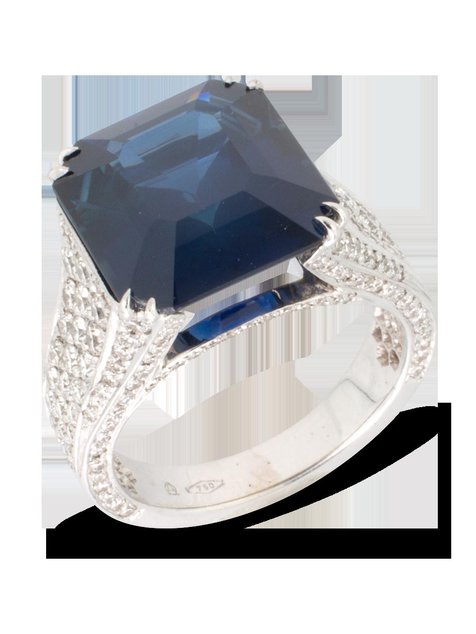 Blue Sapphire & Diamond Ring-2