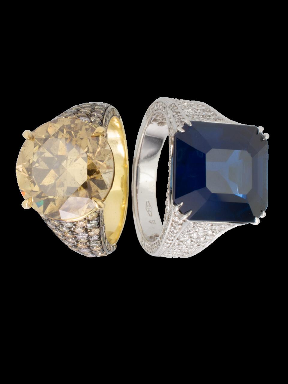 Blue Sapphire & Diamond Ring-3