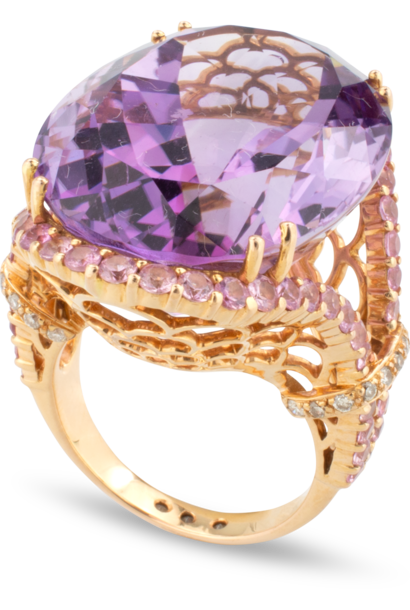 Amethyst Ring with Pink Sapphires