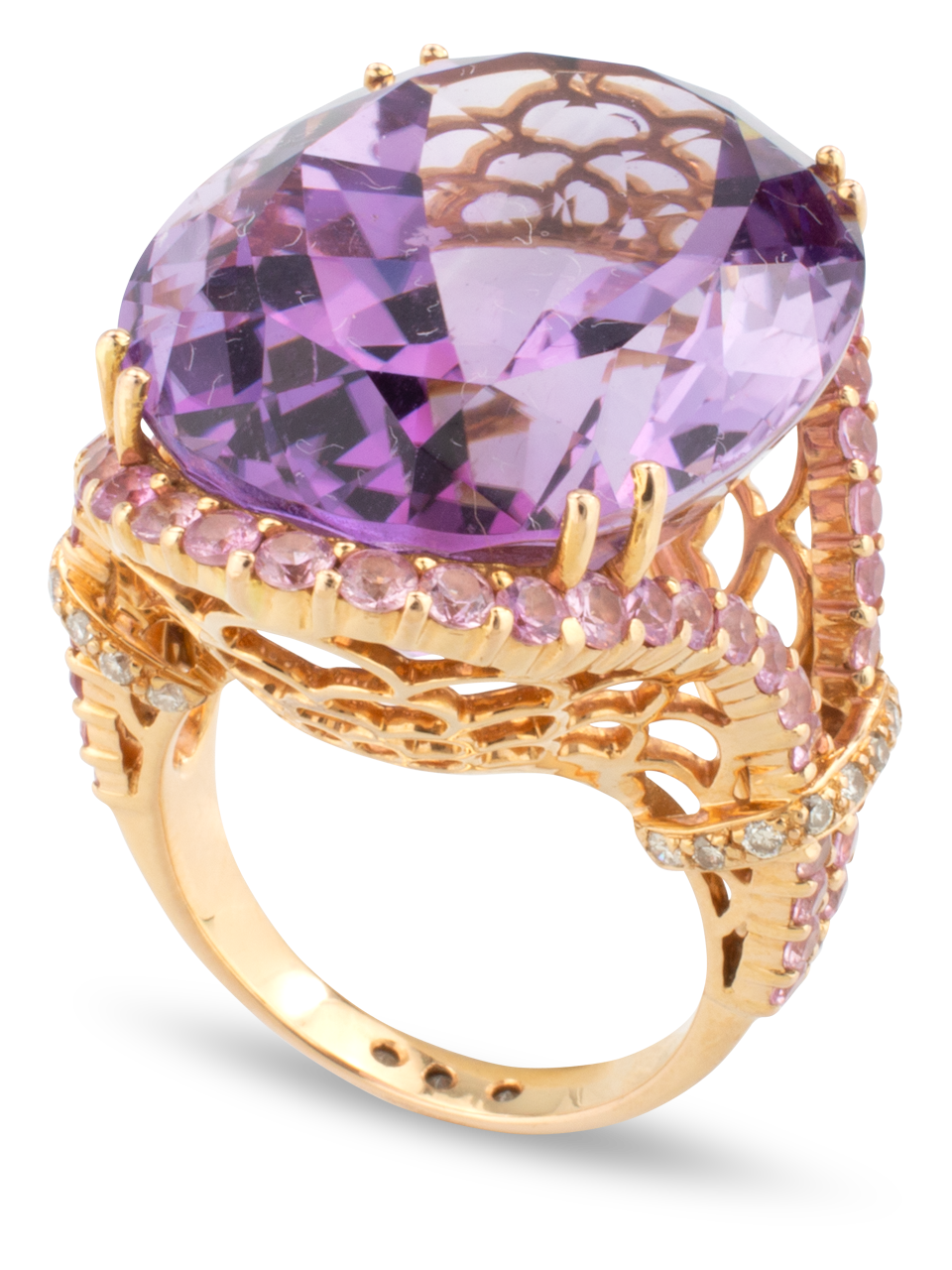Amethyst Ring with Pink Sapphires-1