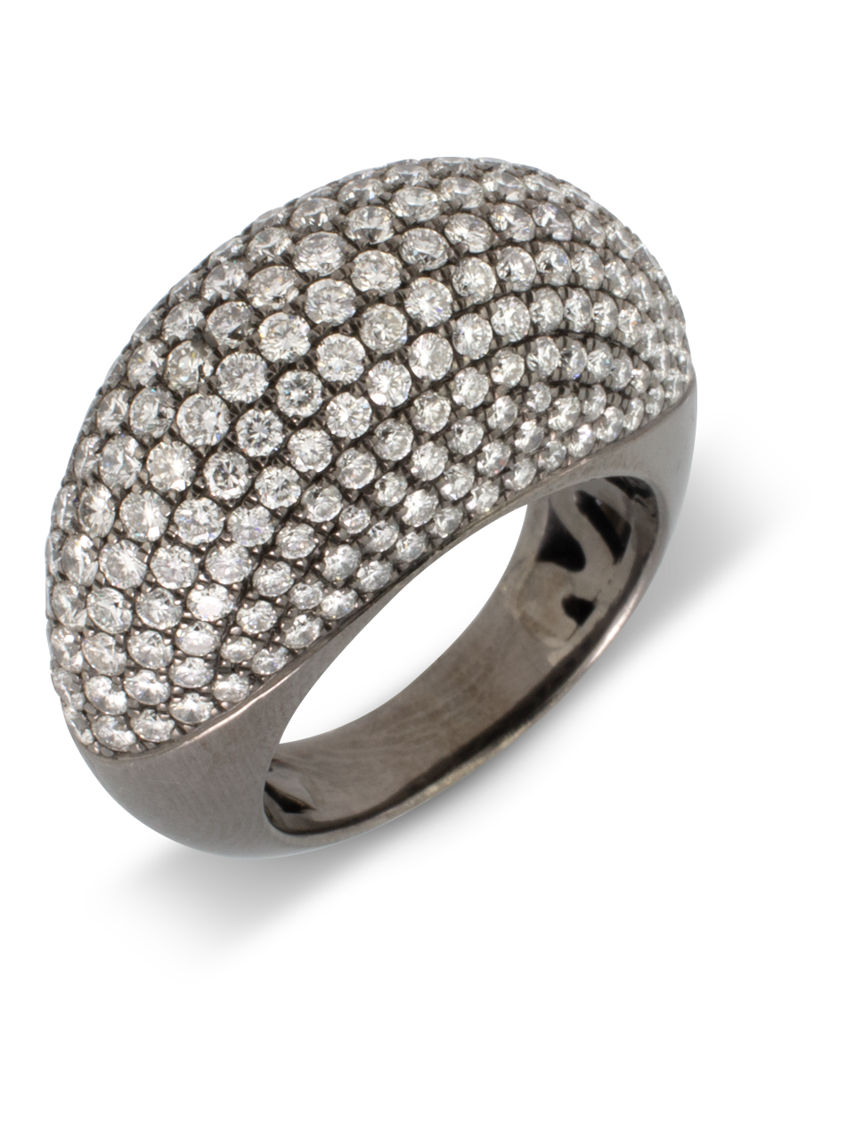 White Diamond Pave Dome Ring-1