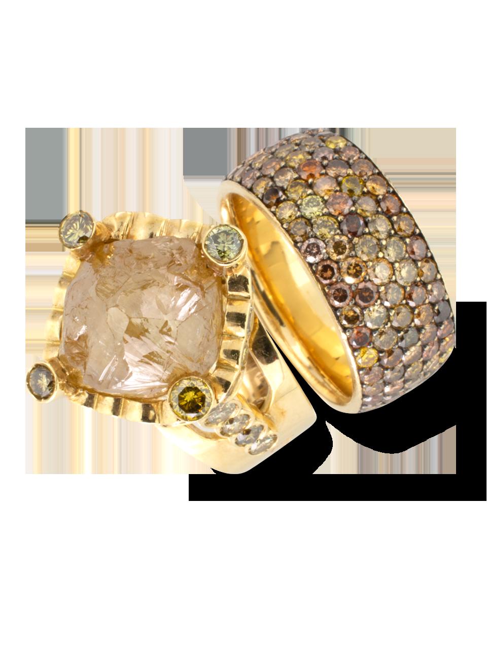 Natural Golden Diamond Nugget Ring-2