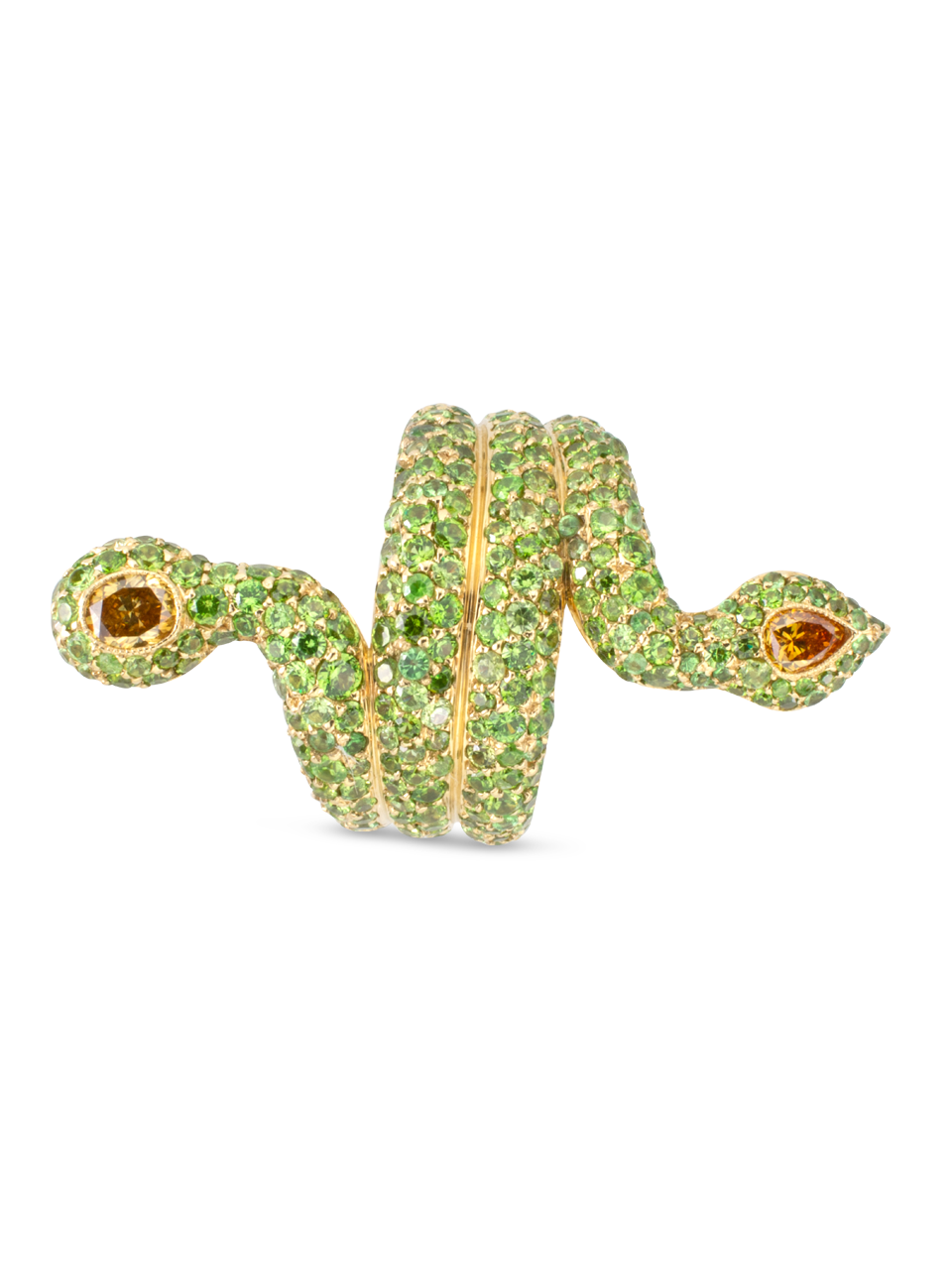 Demantoid Garnet & Yellow Diamond Snake Ring-3