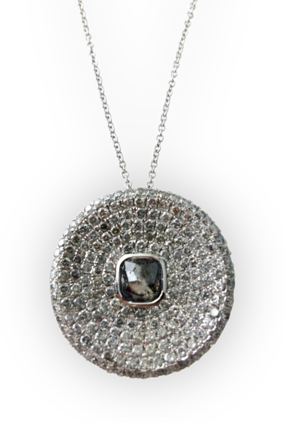 Grey and White Diamond Disc Pendant