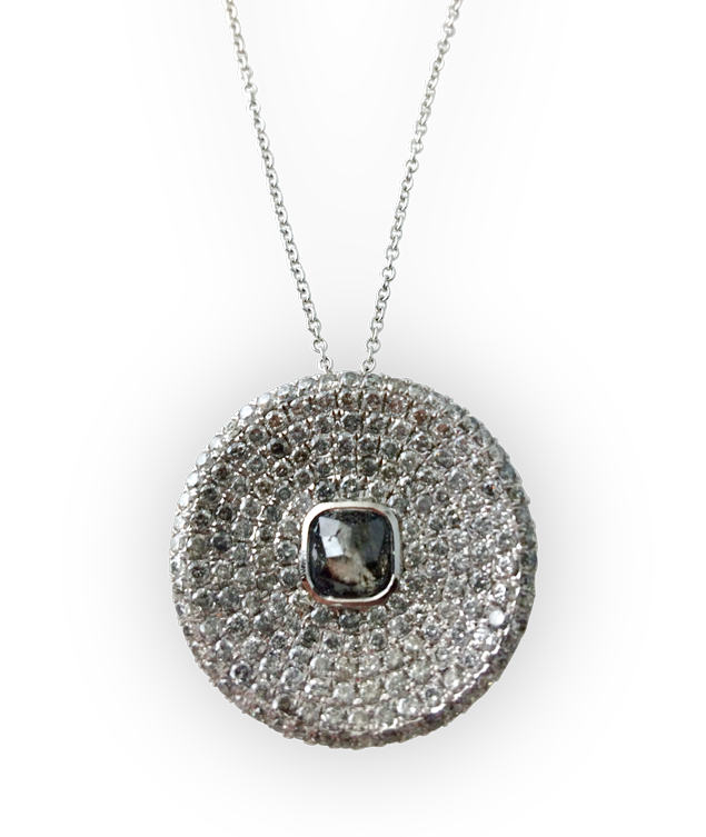 Grey and White Diamond Disc Pendant-1