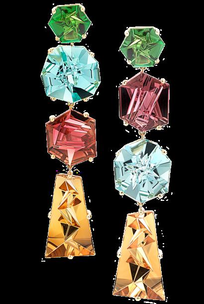 Rubelite, Aquamarine, Peridot & Citrine Earrings