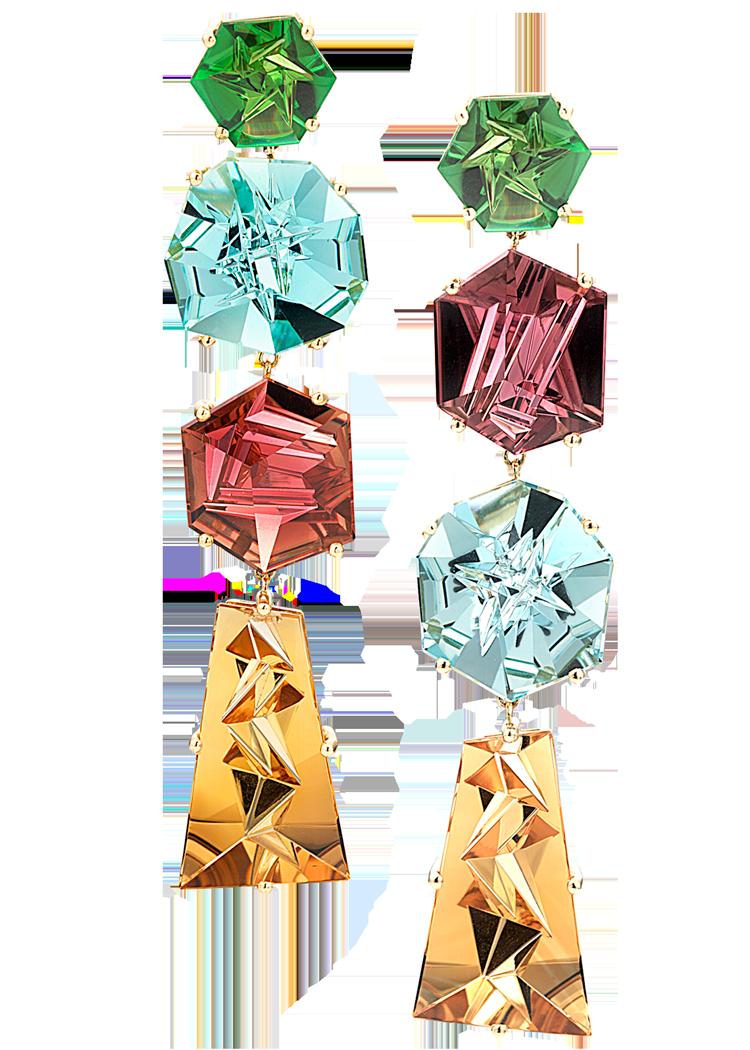 Rubellite, Aquamarine, Peridot & Citrine Earrings-1