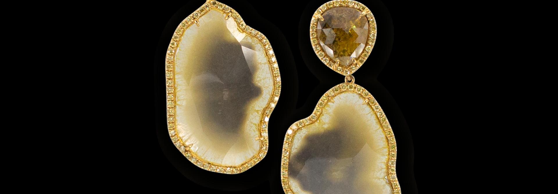 Yellow Diamond & Yellow Diamond Slice Earrings
