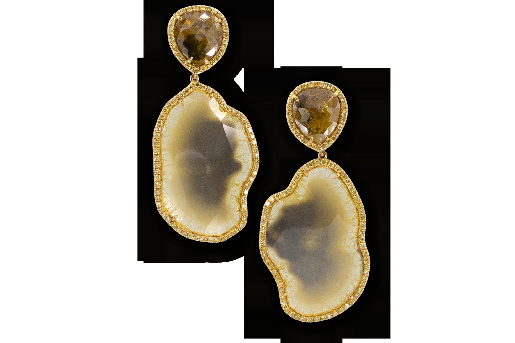 Yellow Diamond & Yellow Diamond Slice Earrings-1