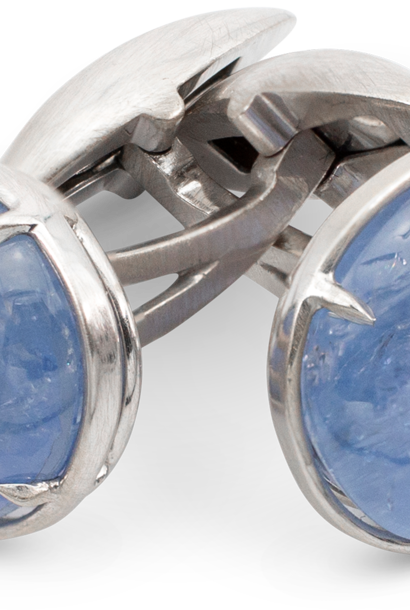 Natural Color Blue Sapphire Cufflinks