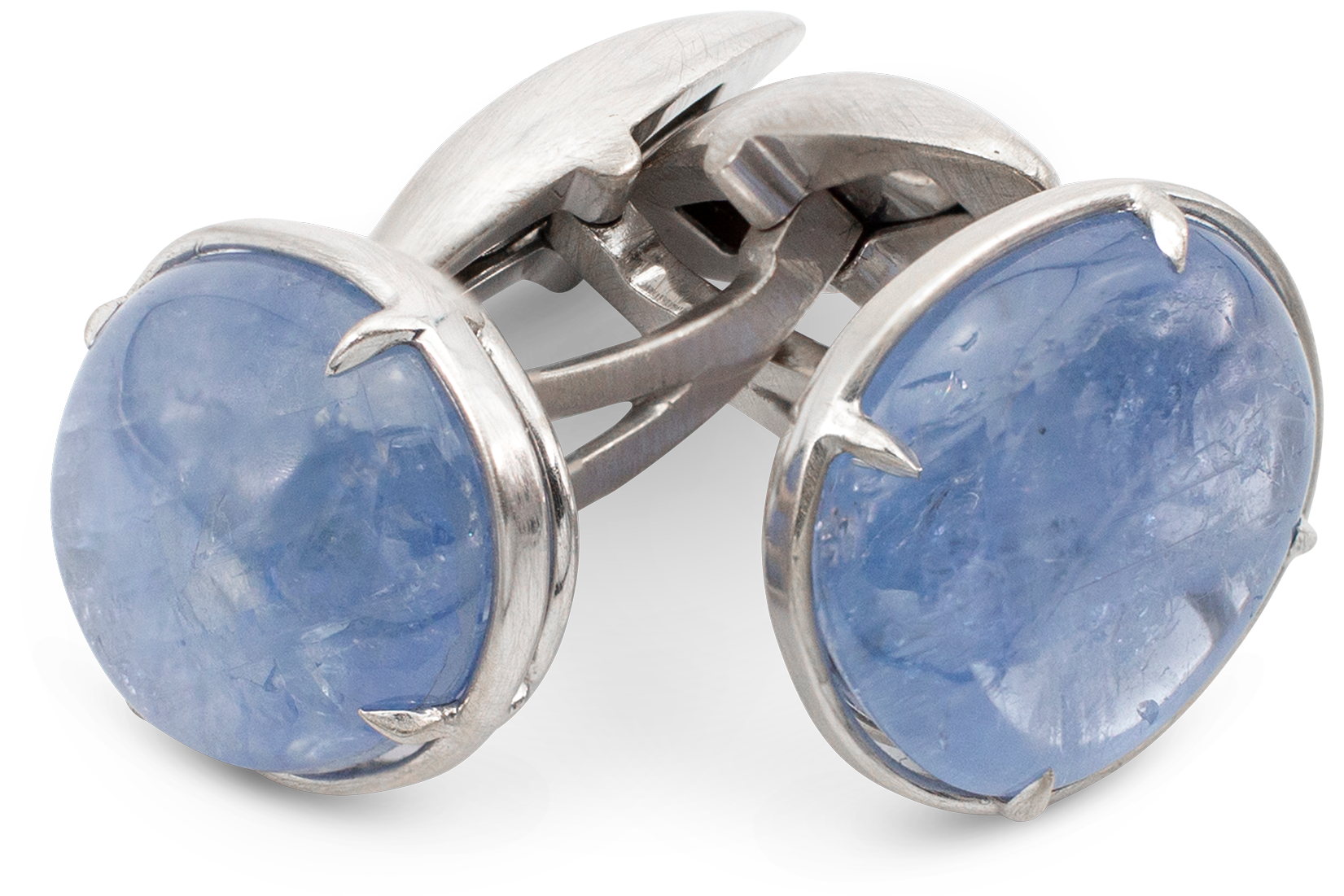 Natural Color Blue Sapphire Cufflinks-1