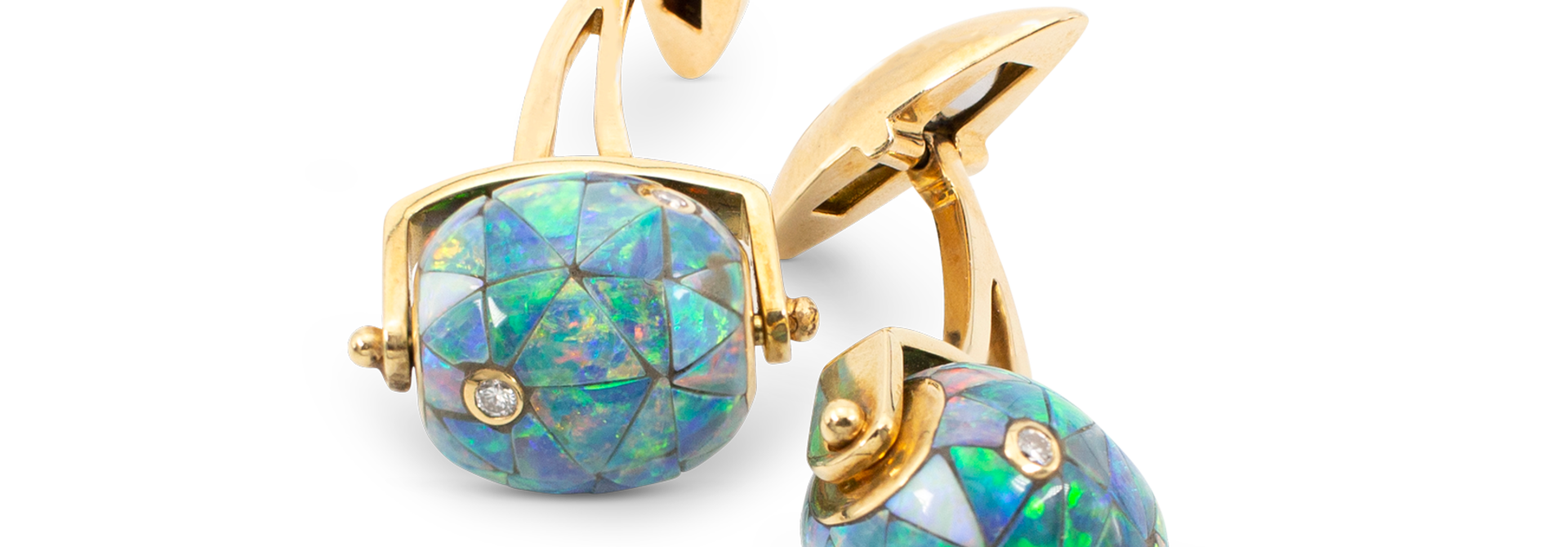 Black Opal Mosaic & Diamond Bead Cufflinks