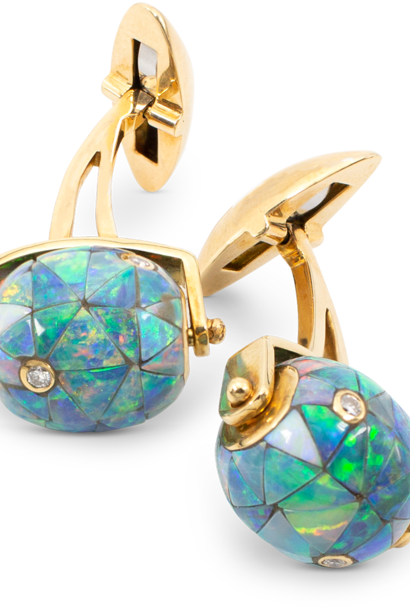 Black Opal Mosaic & Diamond Bead Cuff Links