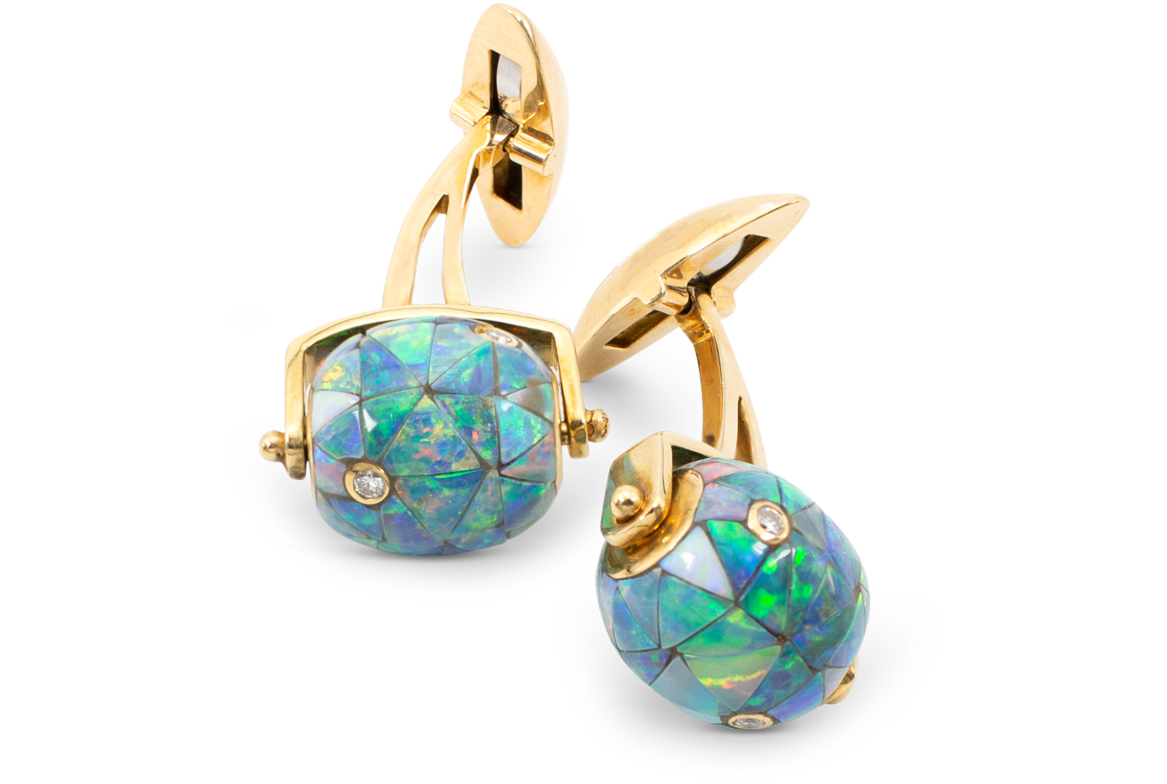 Black Opal Mosaic & Diamond Bead Cufflinks-1