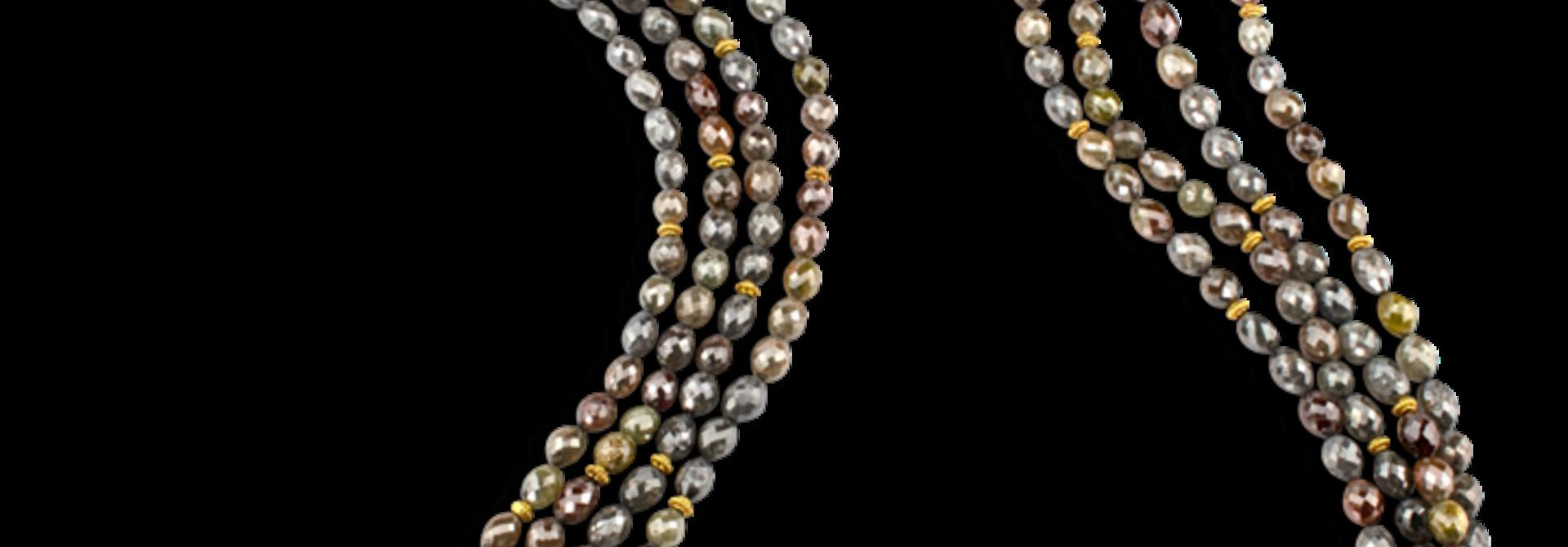 "Multi-Colored Brown & Grey Diamond Necklace - 36"""