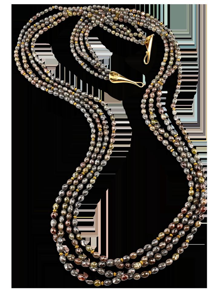 "Multi-Colored Brown & Grey Diamond Necklace - 36""-1"