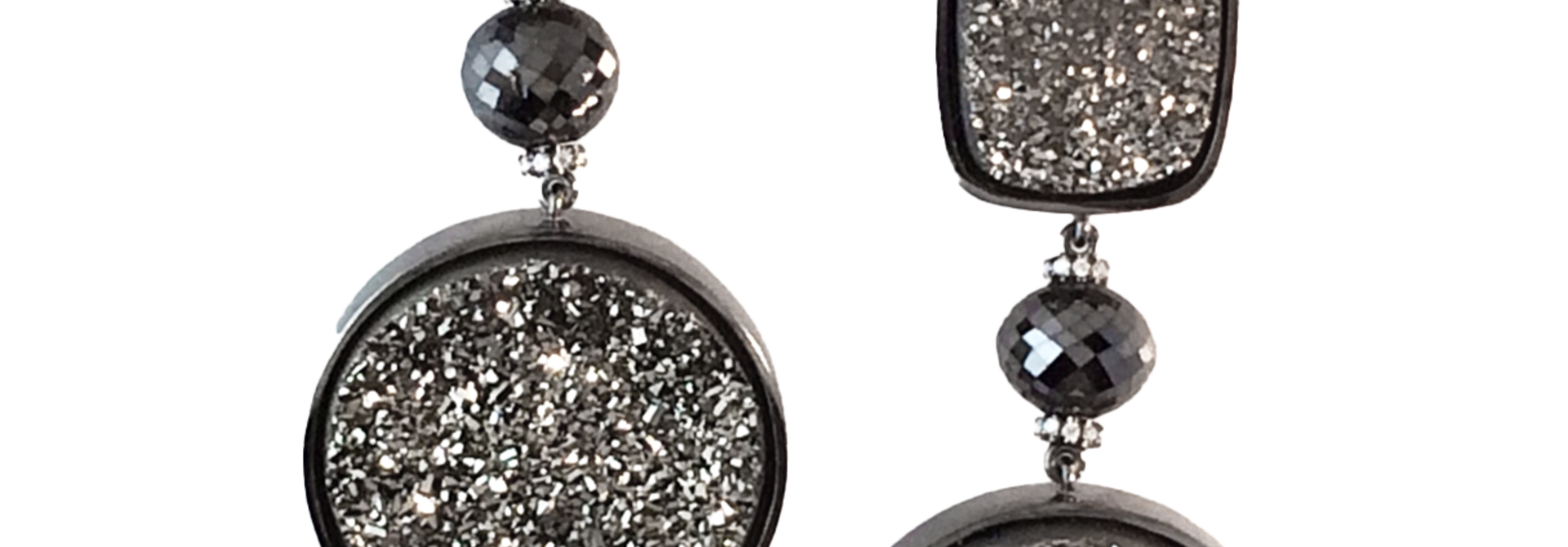 Drusy Quartz and Diamond Earrings