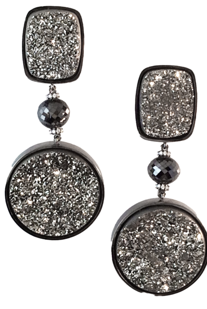 Drusy Quartz and Diamond Earrings